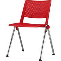 Cadeira Up Assento Vermelho Base Fixa Cromada - 54341 - Sun House