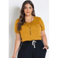Blusa Amarela Plus Size Com Lapela Decorativa