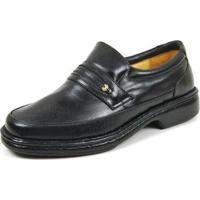 Sapato Social Couro Igo Bico Redondo Casual Conforto Masculino - Masculino-Preto