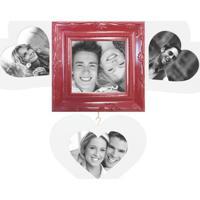 Painel Sweetheart Para 4 Fotos 10X15 Recortadas Branco Com Vermelho Kapos