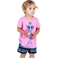 Pijama De Verão Infantil Camiseta Com Manga E Short Doll Victory Feminino - Feminino-Rosa