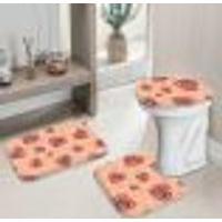 Jogo Tapetes Para Banheiro Coração Com Flor Geometrico Único