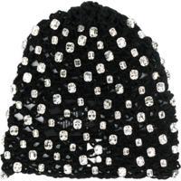 Saint Laurent Crochet Crystal Hat - Preto