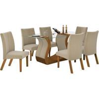 Conjunto De Mesa De 1.70M Com 6 Cadeiras Fortuna Castanho Tecido Zig Zag Bege Lj Móveis