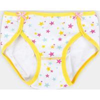 Calcinha Infantil Lupo Lobinha Cotton Feminina - Feminino-Branco+Cinza