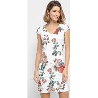Vestido Pérola Floral Tubinho - Feminino-Branco
