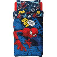 Colcha Com Fronha Infantil Spider Man Poliéster Azul