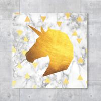 Placa Decorativa - Gold Unicorn