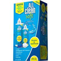 All Clean Soft Solução Multipropósito Para Lentes De Contato Hidrofílicas 350Ml + Grátis 120Ml + Estojo Para Lentes
