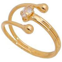 Anel Banhado A Ouro Com Zircã´Nia- Incolor & Dourado-Carolina Alcaide