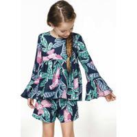 Blusa Infantil Menina Com Mangas Flare Estampada Puc Premium