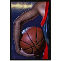 Quadro Oppen House 60X40Cm Esporte Basquete Jogador Com Bola Moldura Preta Com Vidro