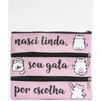 Necessaire Grande Feminina Gatos Rosa - Feminino
