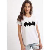 Blusa Feminina Batman Manga Curta Lilás