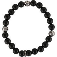 Nialaya Jewelry Engraved Beaded Bracelet - Preto