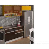 Cozinha Modulada Completa 3 Módulos 100% Mdf Branco/Ébano/Gold - Glamy
