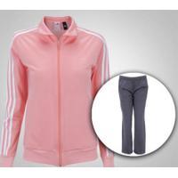 Agasalho Adidas Kn Ts 1 - Feminino - Rosa/Cinza