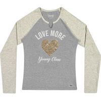"""Blusa """"Love More""""- Cinza Claro & Dourada- Teen- Young"""