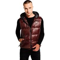 Colete Guess Masculino Logan Hooded Puffer Red Bordo