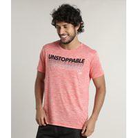 "Camiseta Masculina Esportiva Ace Unstoppable"" Manga Curta Gola Careca Laranja"""