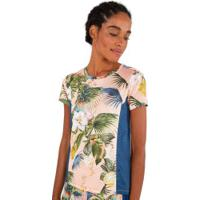 Camiseta Farm Rio Dry Fit Flora Da Bahia - Feminina - Rosa Cla/Verde