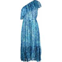Twinset Vestido Ombro Único Com Estampa Floral - Azul