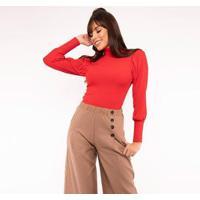 Blusa Manga Longa Salvatore Fashion Canelada Princesa Feminina - Feminino-Vermelho