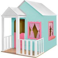 Casinha De Brinquedo Criança Feliz Com Cercado Verde Aguá/Rosa