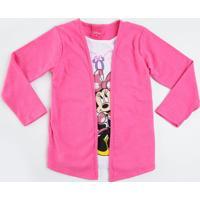 Blusa Infantil Sobreposição Casaco Minnie Disney