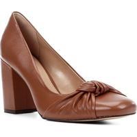 Scarpin Couro Shoestock Salto Alto Nó - Feminino-Marrom