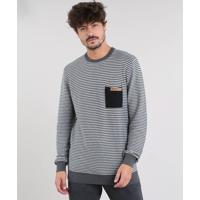 Suéter Masculino Em Tricô Com Bolso Cinza