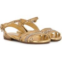 Dolce & Gabbana Kids Sandália De Tiras Com Aplicações - Dourado