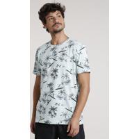 Camiseta Masculina Estampada De Caveiras Surfistas Manga Curta Gola Careca Verde Claro