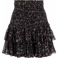 Isabel Marant Étoile Floral-Print Ruffled Miniskirt - Preto