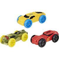 Refil Nerf Nitro Com 03 Carrinhos De Espuma - Verde, Amarelo E Vermelho - Hasbro