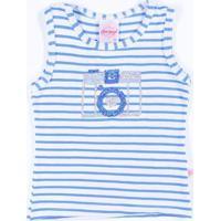 Blusa Regata Infantil Para Menina - Azul/Branco