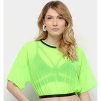 Blusa Cropped Coca-Cola Néon Feminina - Feminino-Verde Escuro