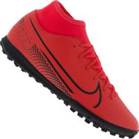 Chuteira Society Nike Mercurial Superfly 7 Club Tf - Adulto - Coral/Preto