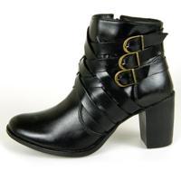 Bota Cano Curto Over Boots Riana Couro Preto - Tricae