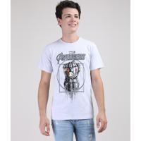 Camiseta Juvenil Manopla Do Infinito Os Vingadores Manga Curta Cinza Mescla Claro