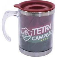 Caneca Térmica Acrílica Fluminense Tetra Campeão 400 Ml - Unissex-Vermelho Escuro
