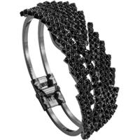 Bracelete Folhas Tudo Joias Com Zircônias Folheado A Ródio Black - Feminino
