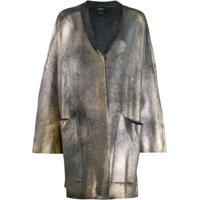 Avant Toi Coated Metallic Cardigan - Cinza