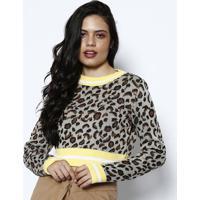 Blusa Cropped Em Tricã´- Marrom Claro & Amarela- Pontponto Aguiar