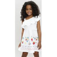 Vestido Infantil Um Ombro Só Com Estampa Floral Com Babado Branco