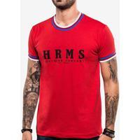 Camiseta Hrms Vermelha Gola Listrada 103738