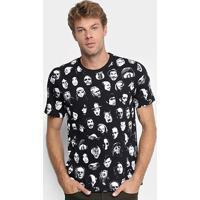 Camiseta Cavalera Faces Masculina - Masculino-Preto