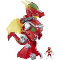 Figura Com Luzes E Sons - 39Cm - Power Rangers - Power Morph - Red Ranger E Dragon Thunderzord - Hasbro