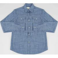 Camisa Jeans Infantil Chambray Manga Longa Azul Escuro