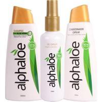 Kit Shampoo + Condicionador + Gel Capilar De Aloe Vera - Unissex-Incolor